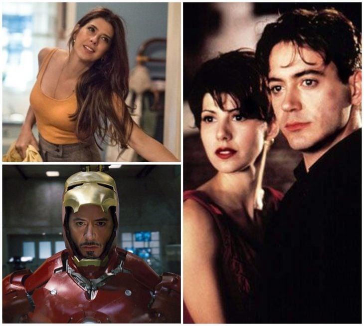 Robert Downey Jr. y Marisa Tomei abrazados, escena de la película Spider-Man, Tía Mai, Iron Man