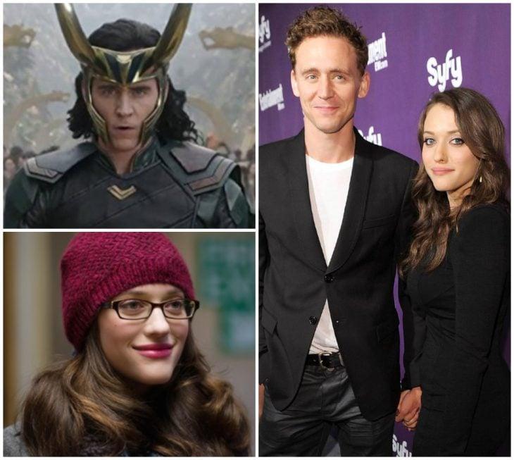 Tom Hiddleston y Kat Dennings tomados de la mano durante una alfombra roja