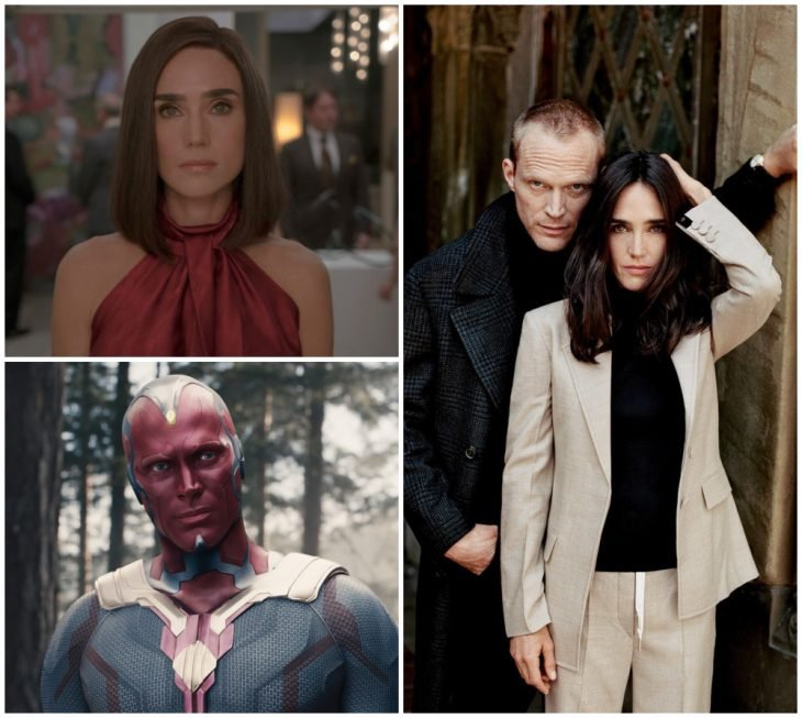 Jennifer Connelly y Paul Bettany abrazados, posando para una fotografía familiar