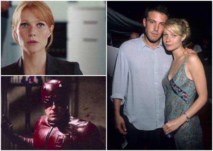 Ben Affleck y Gwyneth Paltrow abrazados pro la espalda, dentro de un restaurante, Daredevil, Pepper Potts
