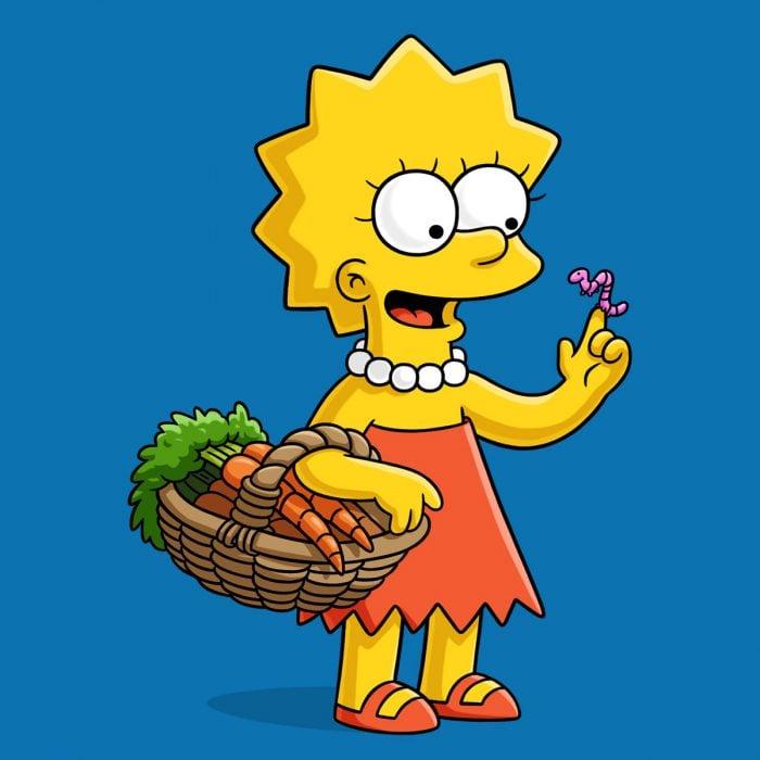 Lisa de la caricatura Los Simpson sosteniendo una canasta con zanahorias en una mano y a un pequeño gusano en su otra mano