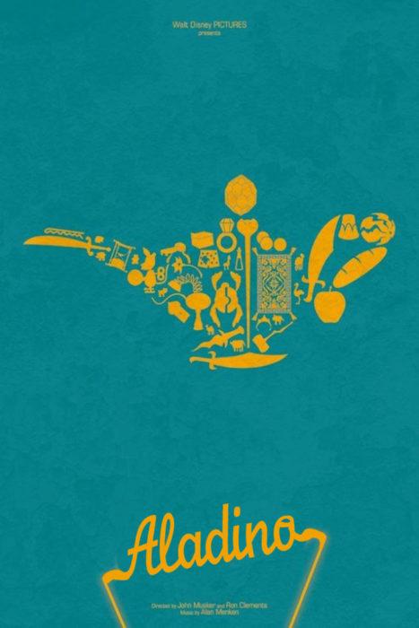 Poster vintage de la película de Aladdino. Lampara maravillosa con todos los personajes dentro de ella