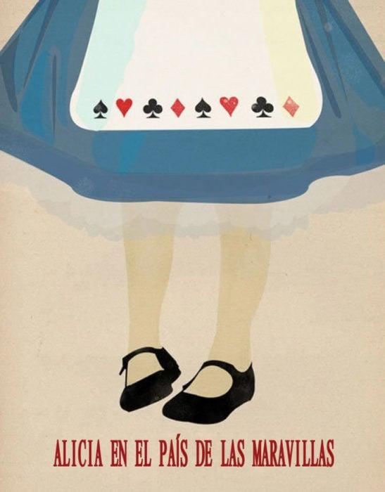 Poster vintage de la película alicia en el país de las maravillas; medio cuerpo de alicia