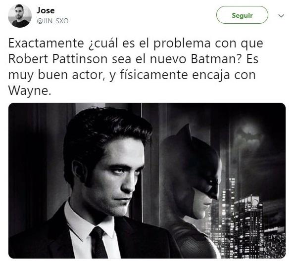 Tuit sobre Robert Pattinson como el nuevo Batman