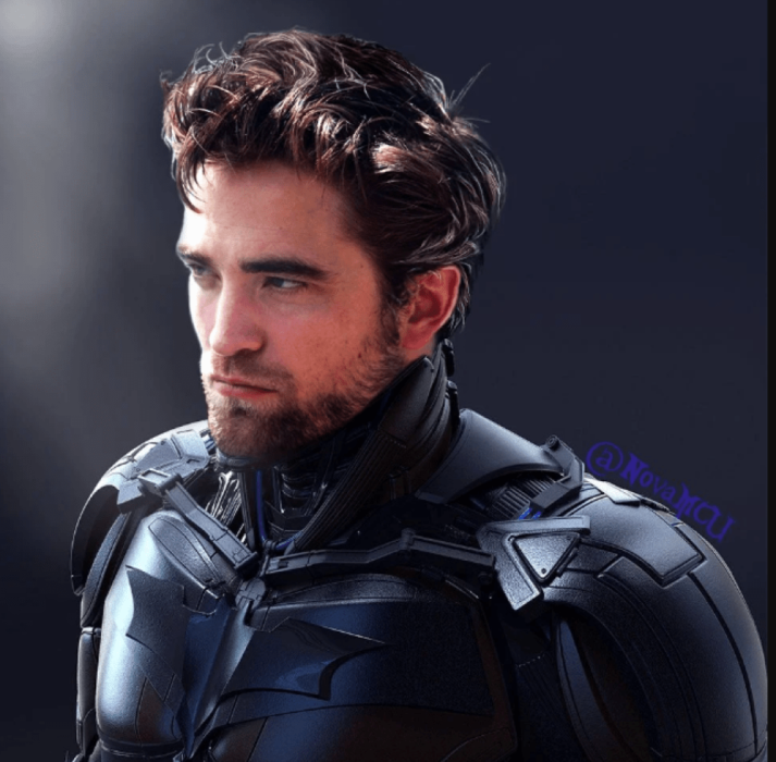 Robert Pattinson usando el traje de Batman el caballero de la noche