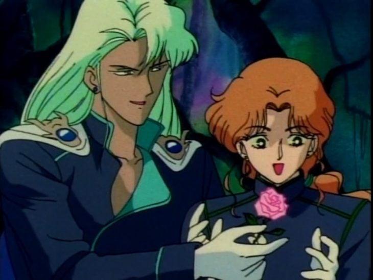 Curiosidades sobre caricatura Sailor Moon; villanos Malachite regalando una flor a Zoisite