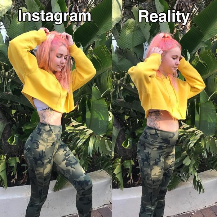 Blogger Sara Putho, comparative selfies between the expectation on Instagram and reality; girl with long pink hair, hairstyle with a pigtail, with yellow oversized hoddie and military camouflage leggin, with flower tattoo on the ribs, posing for photography