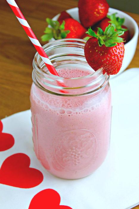 Batido de fresa con leche light