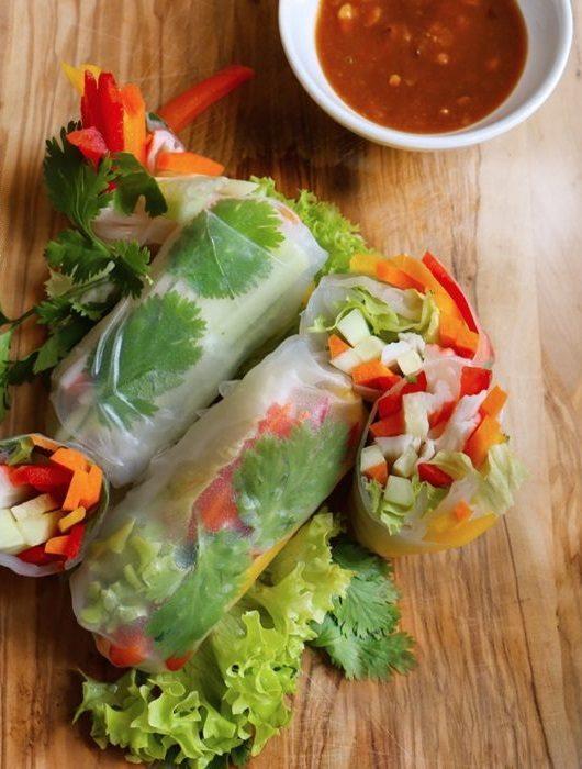 Rollitos primavera con papel arroz y verduras