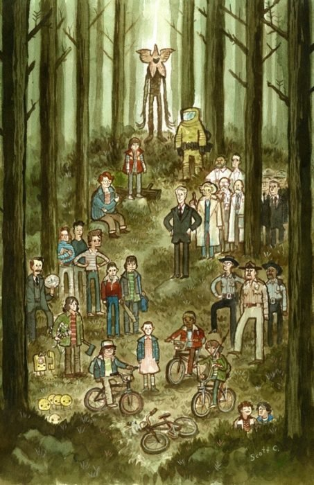 Wallpapers de Stranger things; fondo de pantalla para celular de ilustración en acuarela de la serie, personajes en el bosque