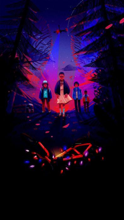 Wallpapers de serie Stranger things; fondo de pantalla para celular de Once, Dustin, Mike y Lucas en el bosque frente a una bicicleta con luces de Navidad