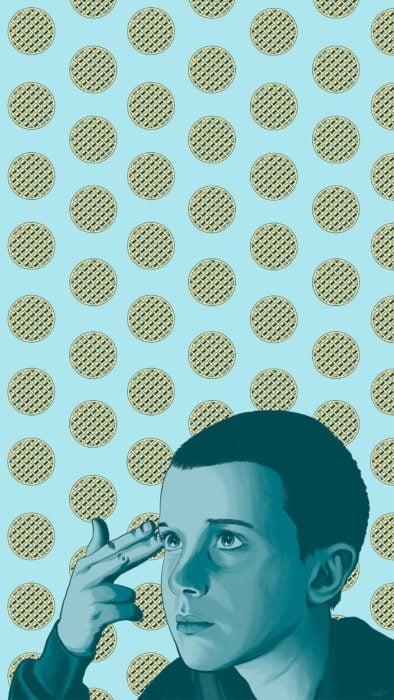 Wallpapers de serie Stranger things; fondo de pantalla para celular de Once sin cabello con muchos waffles