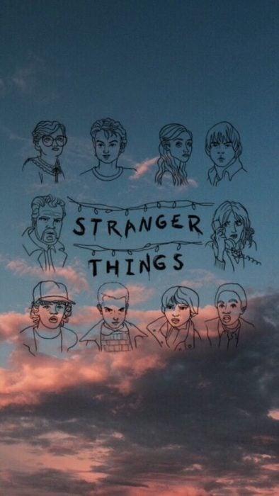 Fondo de pantalla de serie Stranger things; fondo de pantalla para celular de dibujo de Once, Dustin, Mike, Lucas, Will, Nancy, Steve, Jonathan, Joyce, Hopper y Bárbara