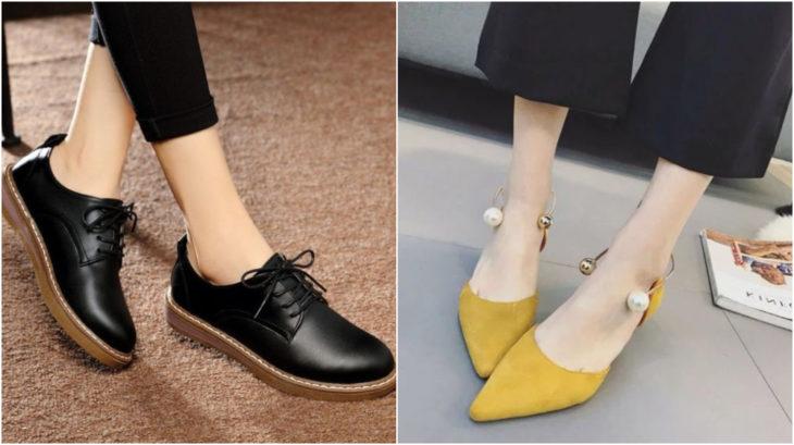 Zapatos con tacones de 1 a 4 centímetros en tonos amarillo y negro