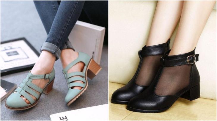 Zapatos en tono negro y azul aqua con tacones de 5 a 7 centímetros de alto modelado por una chica