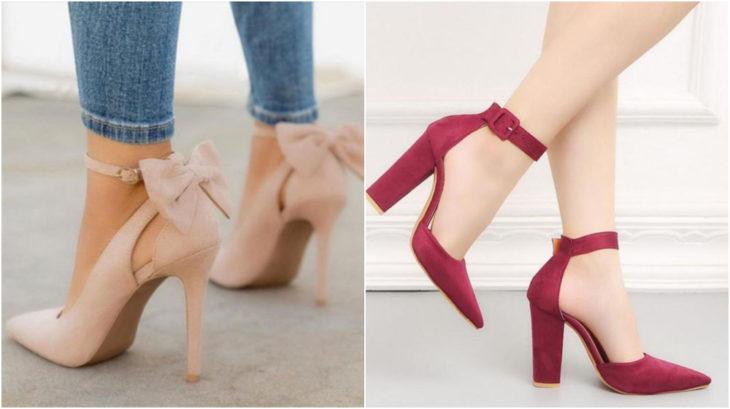 Zapatos rosa y rojos con tacón de 8 a 11 centímetros de alto modelando por una mujer