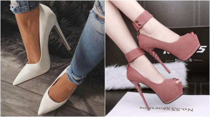 Zapatos en tono blanco y rosa pastel con tacones de más de 12 centímetros de altos modelados por una mujer