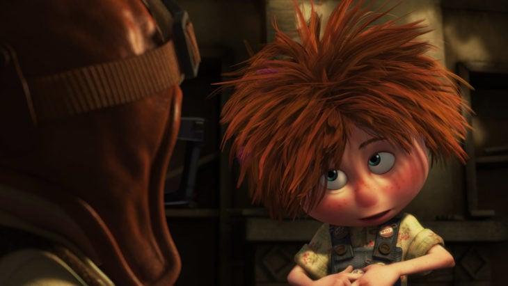 Curiosidades de película de Disney-Pixar, Up: una aventura de altura; Ellie de niña con cabello despeinado