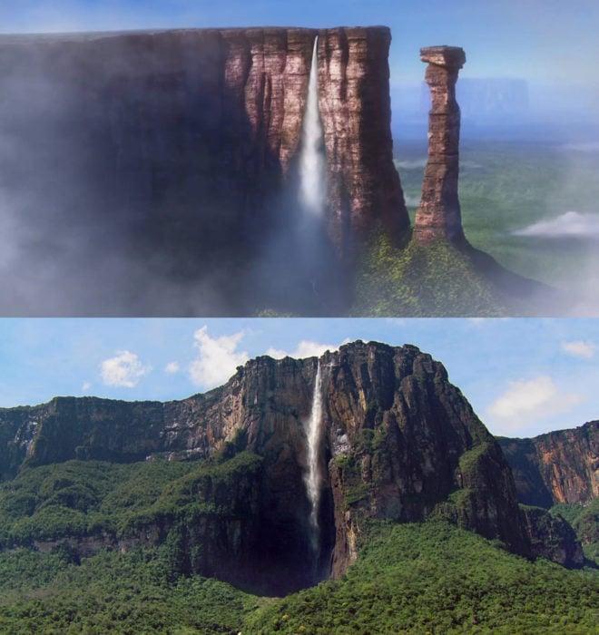 Curiosidades de película de Disney-Pixar, Up: una aventura de altura; Cataratas del Paraíso y El Salto del Ángel en Venezuela