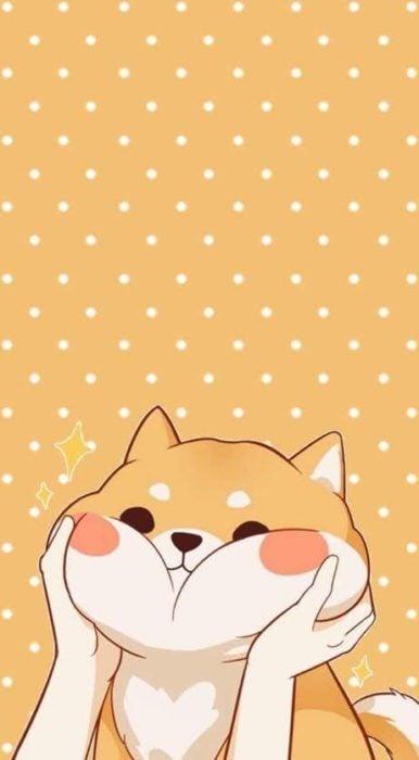 fondo de pantalla para celular estilo kawaii con un perro corgi de mejillas grandes