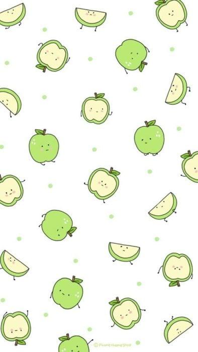 fondo de pantalla para celular estilo kawaii con manzanas verdes sonrientes