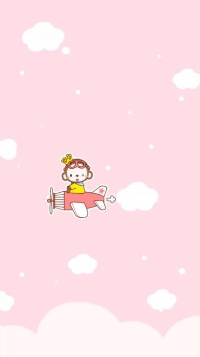 fondo de pantalla para celular estilo kawaii con un pequeño mono en avión