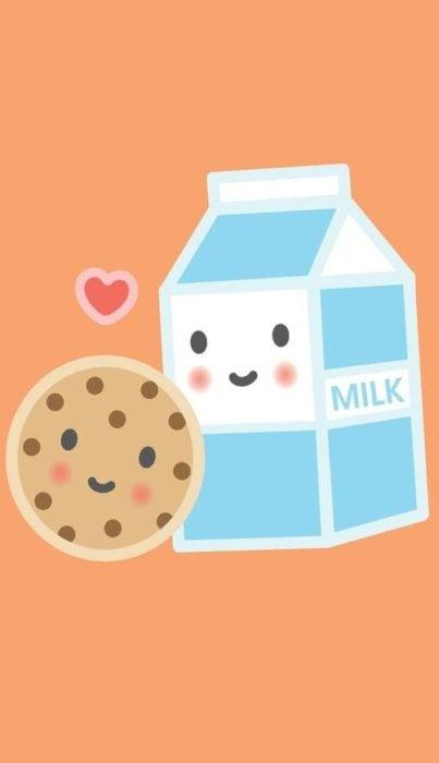 fondo de pantalla para celular estilo kawaii con una caja de leche y una galleta de chispas de chocolate
