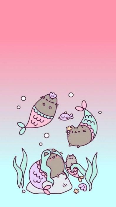 fondo de pantalla para celular estilo kawaii con gato sirena bajo del mar