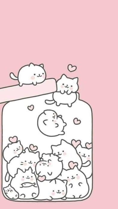 fondo de pantalla para celular estilo kawaii con un frasco de gatos abierto