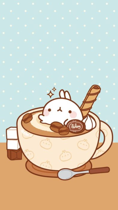 fondo de pantalla para celular estilo kawaii con un conejo dentro de una taza de chocolate caliente