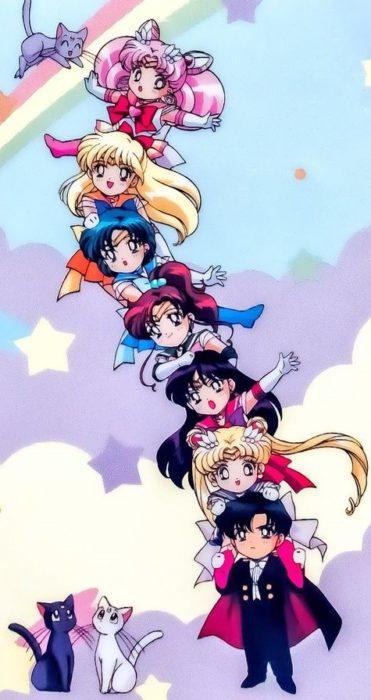 Fondo de pantalla para celular inspirado en Sailor Moon con todas las Sailor Scouts y Darien en su versión chibi
