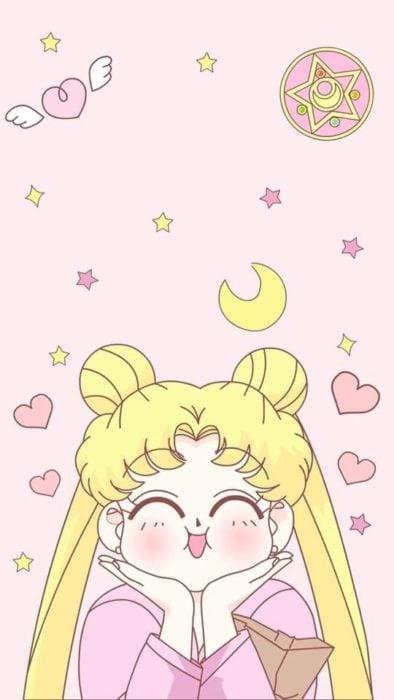 Fondo de pantalla para celular inspirado en Sailor Moon con serena regordete con las manos sobre su rostro