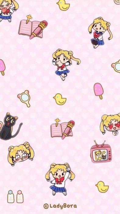 Fondo de pantalla para celular inspirado en Sailor Moon con Serena, Luna y figuras animadas en versión chibi