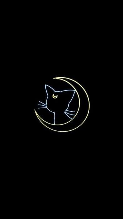 Fondo de pantalla para celular inspirado en Sailor Moon con la silueta de una media luna y un gato con una estrella