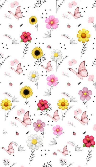 Mobile wallpaper with drawings of flowers, butterflies and sunflowers
