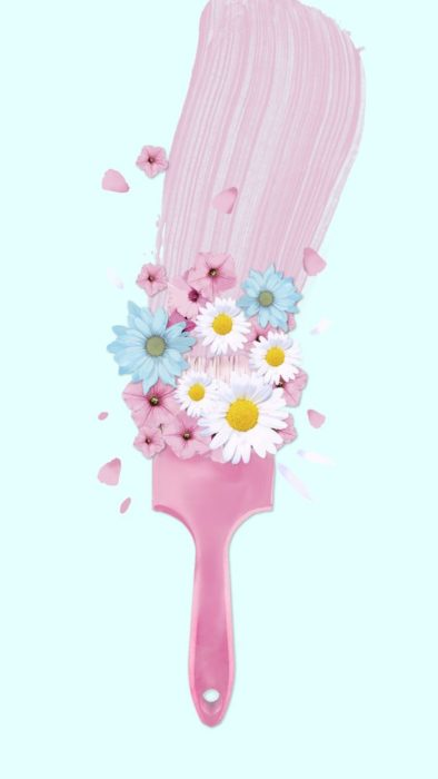 Cute Wallpapers for Phone with a centered brush and smelling flowers