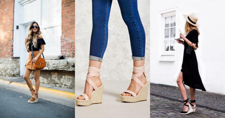 Chicas mostrando sus sandalias de verano wedgess