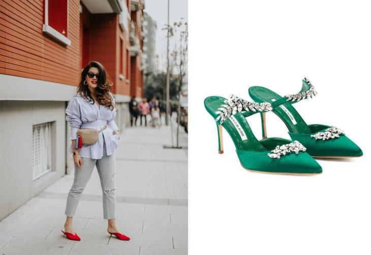 Chica usando unos zapatos mulas de tacón bajo y otros zapatos de color verde de manolo blanik en color verde con aplicaciones de pedrería