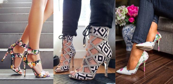 Diferentes estilos de zapatos estampados con flores o estampado azteca