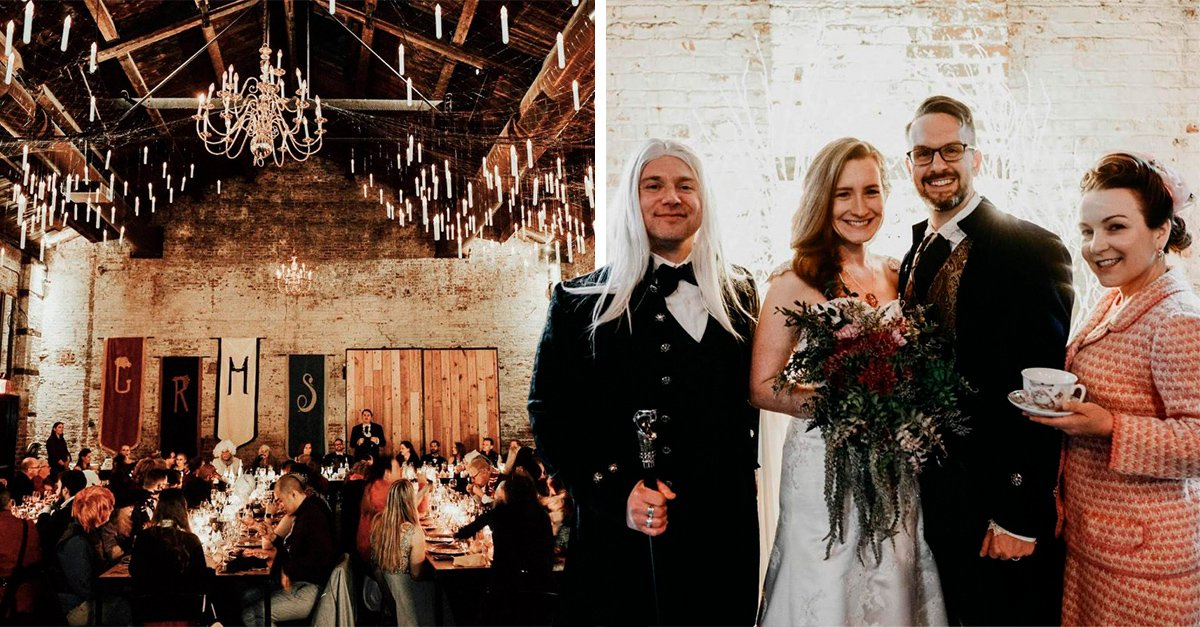 Novios 'potterheads' celebran una mágica boda inspirada en Harry Potter