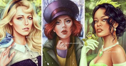 Artista recrea a famosas como princesas Disney y el resultado es enigmático