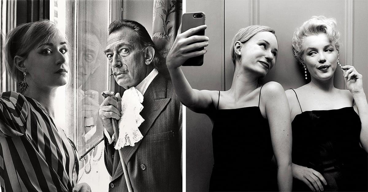 Fotógrafa logró hacerse las mejores selfies con celebridades usando photoshop