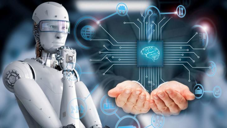 computadora con las manos de la inteligencia artificial