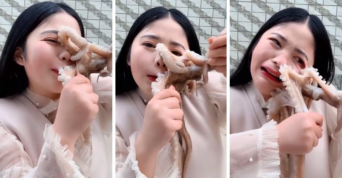 Esta vlogger fue atacada cuando intentaba comerse a un pulpo vivo