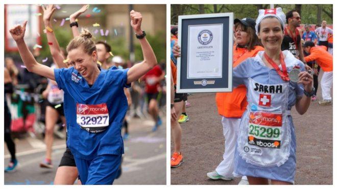 Jessica Anderson corriendo en la maraton más rapido con el uniforme de enfermera