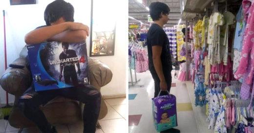 Este joven padre vendió su Play Station 4 para comprar pañales