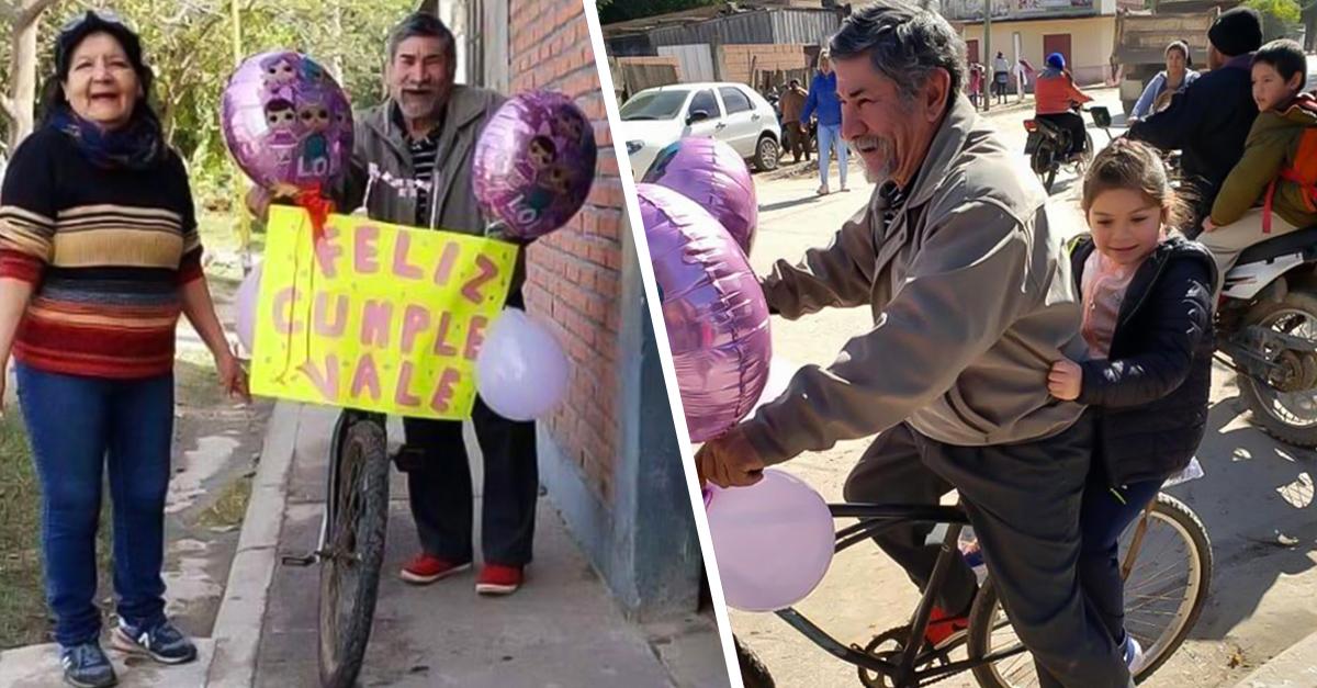 Abuelo decoró su bicicleta para recoger a su nieta en su cumpleaños