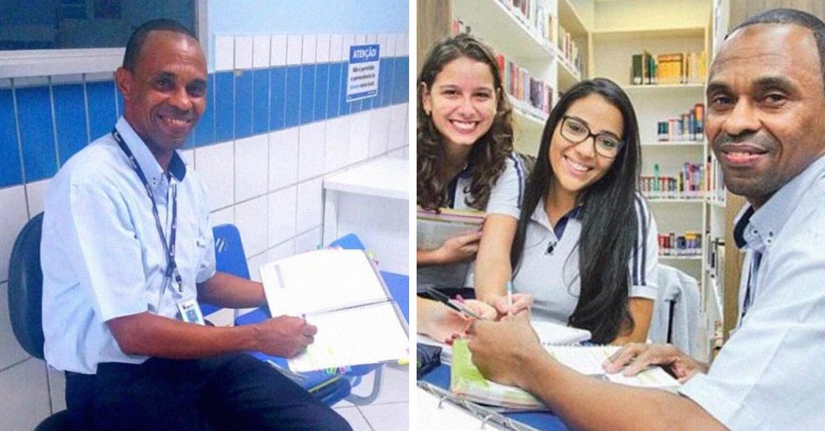 Alumnas dan clases a conserje de la escuela para que pueda ingresar a la universidad