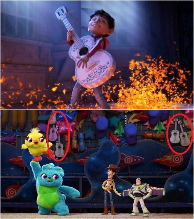 Escenas de la película Coco, Miguelito sosteniendo una guitarra