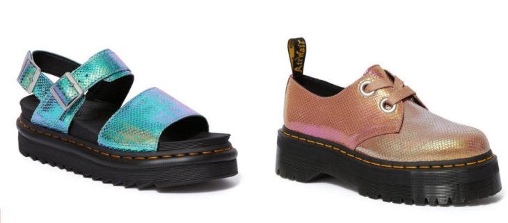 Zapatos y Sandalias Doc Marteens estilo sirena en color rosa y azul